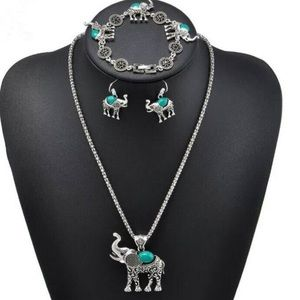 Jewelry - Impressive Boho 🐘💚Elephant 🐘 Necklace Drop Set